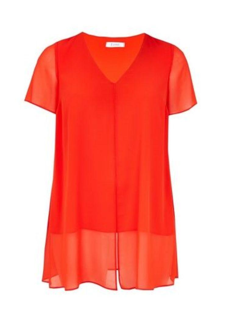 Orange V-Neck Split Front Top, Orange