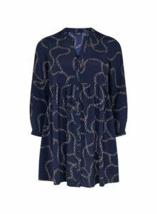 Navy Blue Chain Print Gathered Waist Tunic, Dark Multi