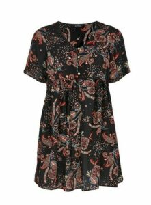 Black Paisley Print Gathered Waist Tunic, Black