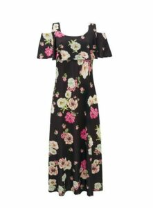 **Grace Black Frill Cold Shoulder Maxi Dress, Black
