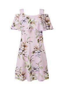 **Grace Pink Midi Cold Shoulder Dress, Pink