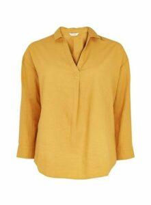 Ochre Linen Blend Shirt, Yellow