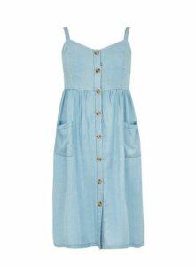 Blue Denim Look Button Dress, Blue