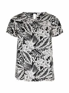 Black And White Floral Print Top, Black/White