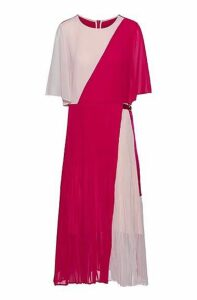 Colour-block dress with plissé skirt and transparent sleeves