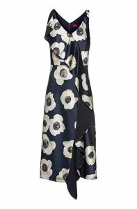 Oversized-floral-print sleeveless dress with cascading volant