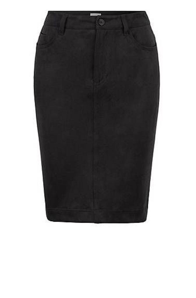 A-line knee-length skirt in stretch faux suede