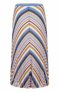 Midi skirt in plissé fabric with multicoloured stripes