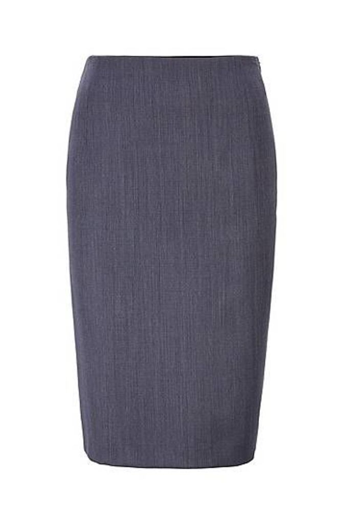 Pencil skirt in patterned virgin wool with natural stretch