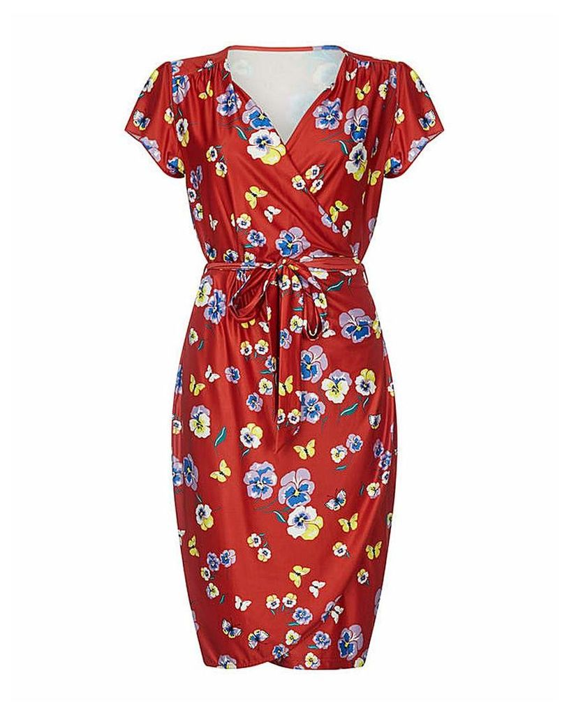 Yumi Curves Pansy Print Wrap Dress