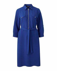 Cobalt Crepe Shirt Dress