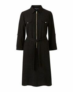 Black Crepe Shirt Dress