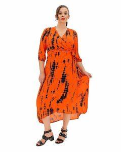 Crinkle Tie Dye Wrap Dress