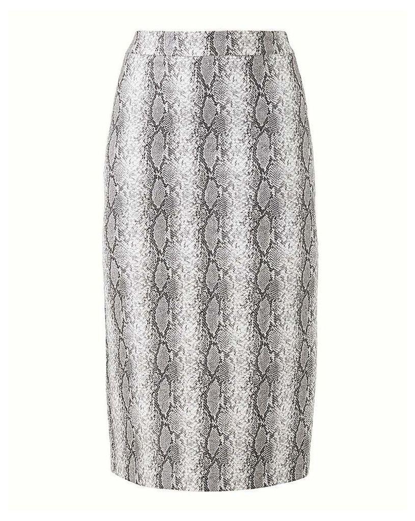 Snake Print PU Pencil Skirt