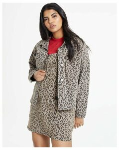 Oversized Leopard Print Denim Jacket