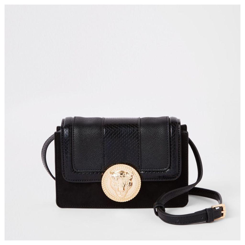 Womens Black lion pendant cross body mini bag