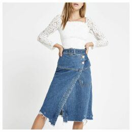 Womens Blue wrap utility denim midi skirt