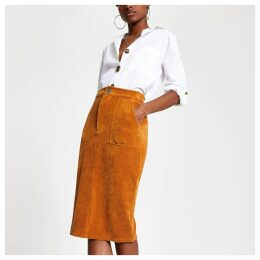 Womens Brown cord utility pencil skirt