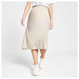 Womens Petite Beige bias cut midi skirt