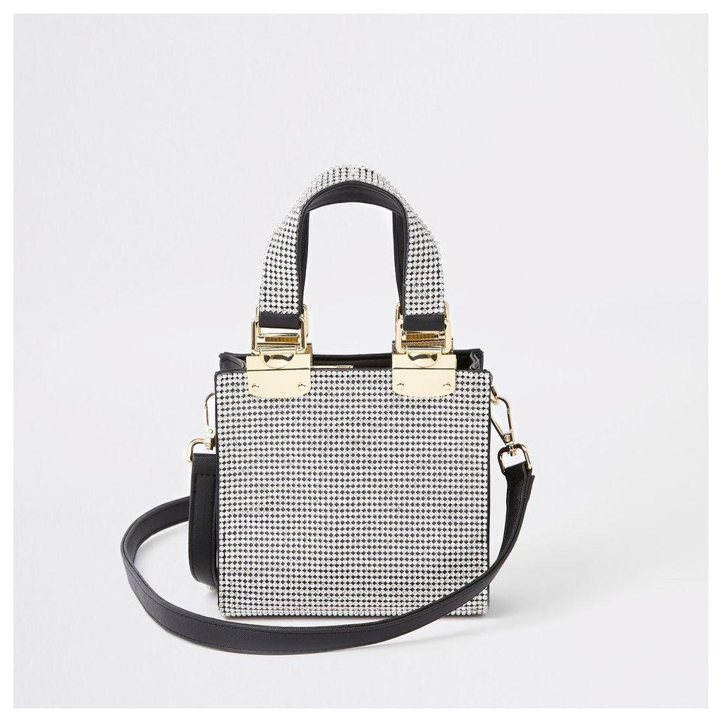 Womens Silver diamante mini cross body tote bag