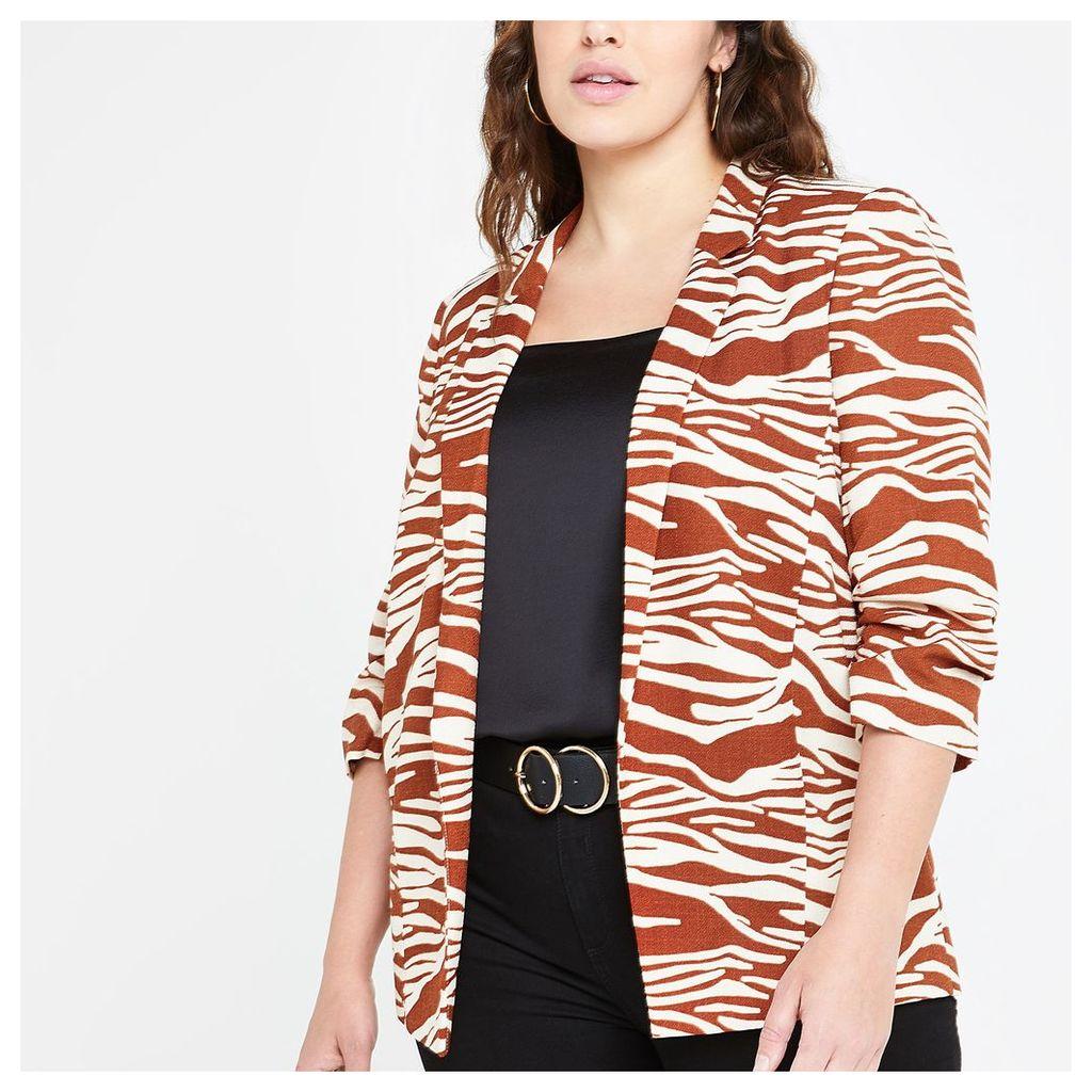 Womens Plus Brown zebra print ruched sleeve blazer