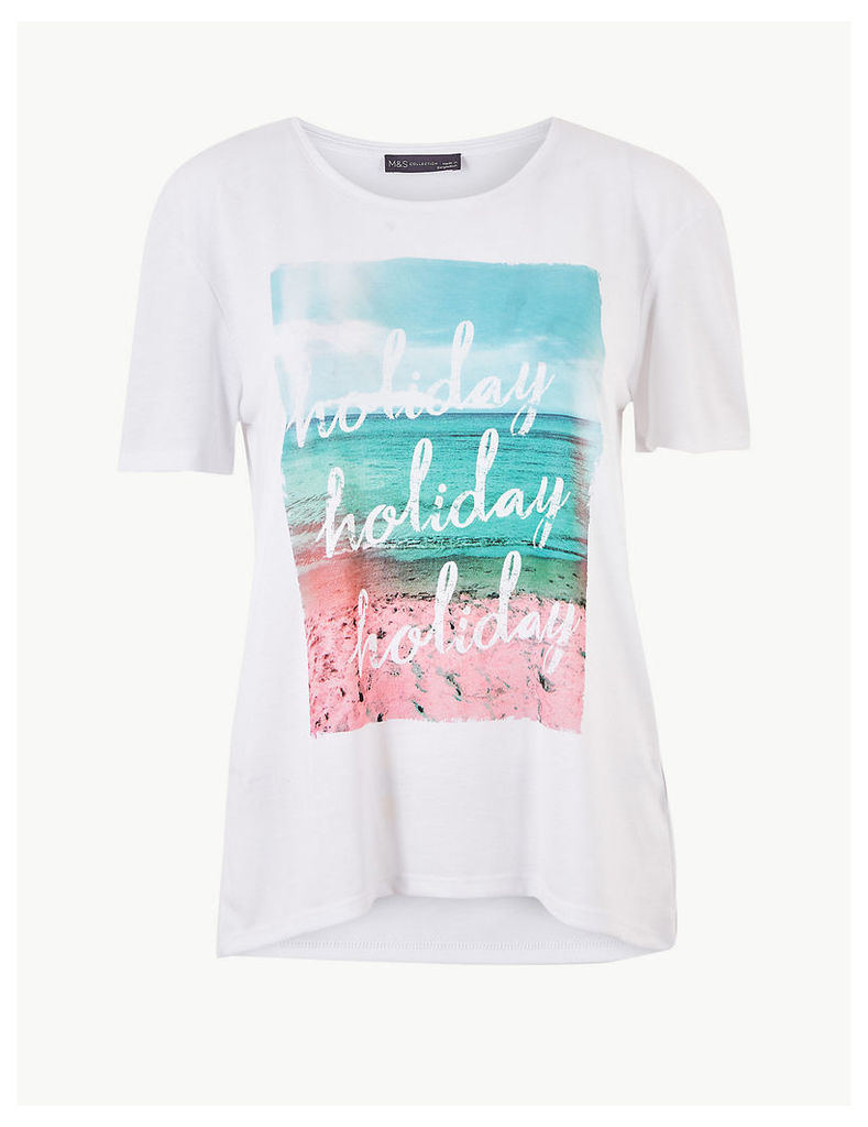 M&S Collection Relaxed Fit Printed Short Sleeve T-Shirt