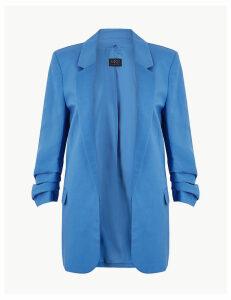 M&S Collection Linen Blend Open Front Blazer
