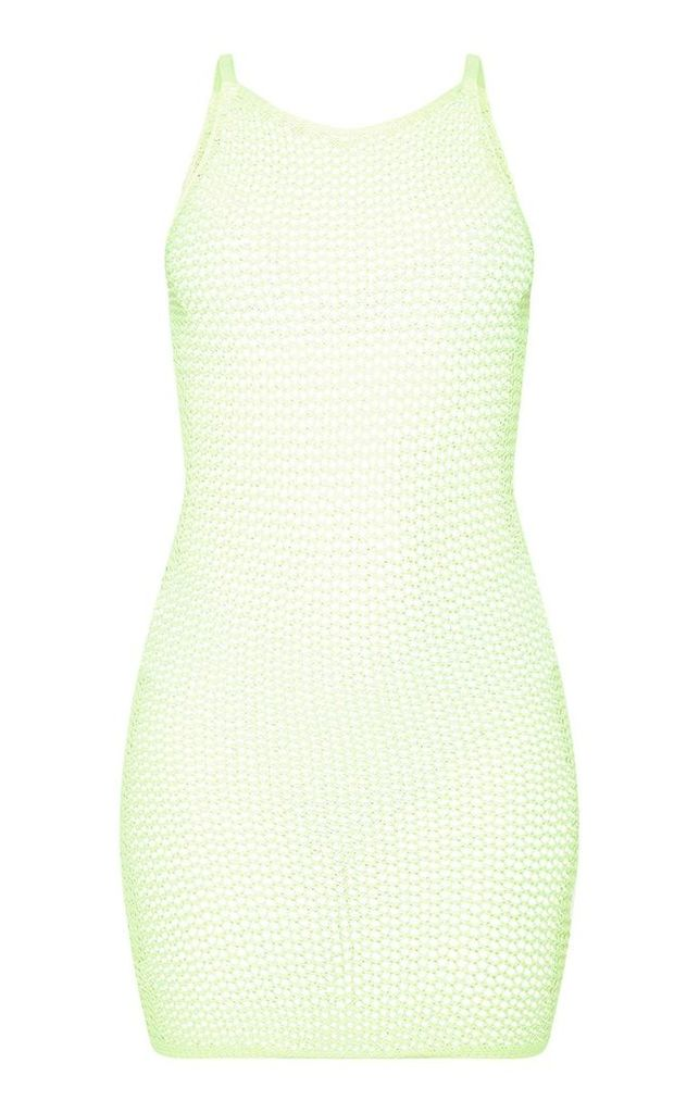 Neon Lime Crochet Knitted Dress, Neon Lime