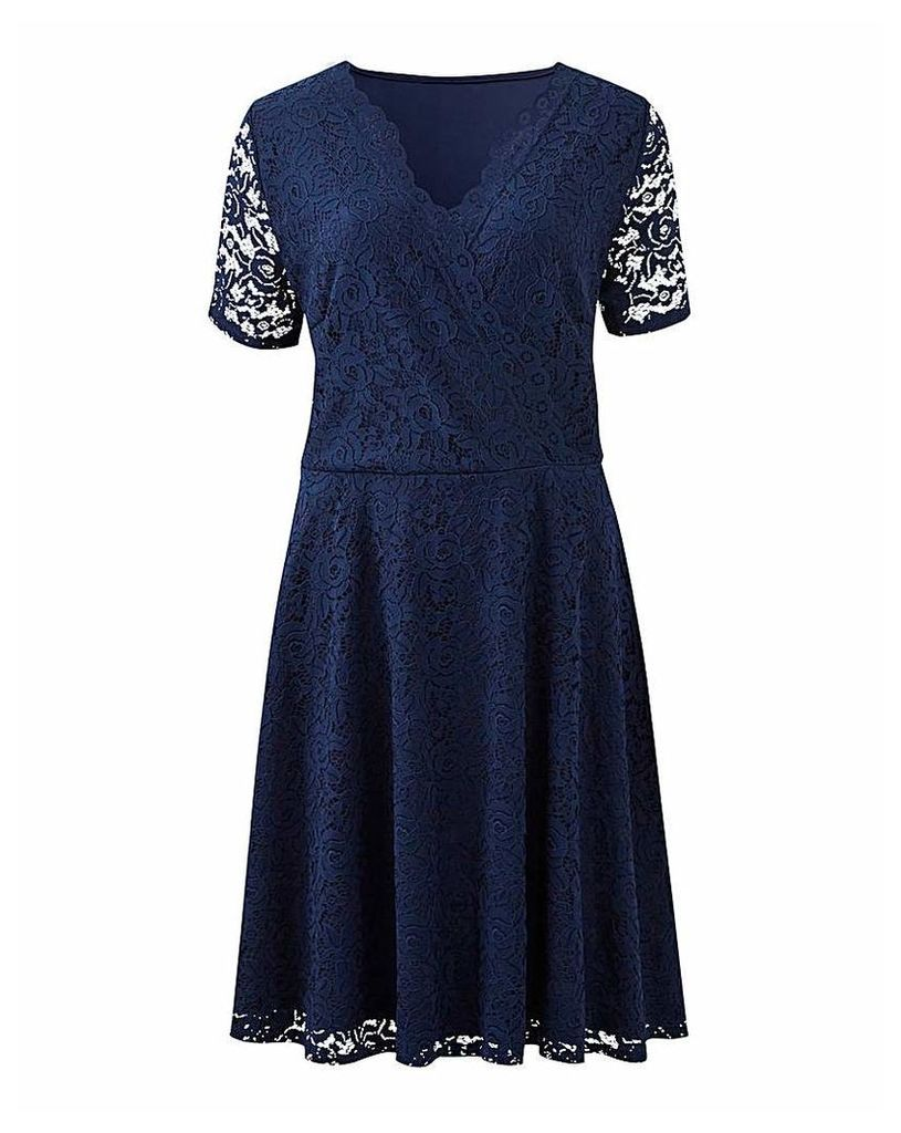 Navy Lace Skater Wrap Dress