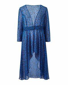 Blue Animal Print Long Sleeve Kimono