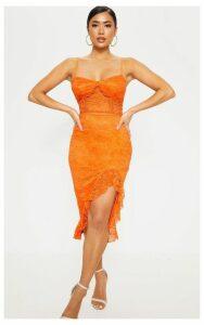 Petite Orange Lace Side Split Bodycon Midi Dress, Orange