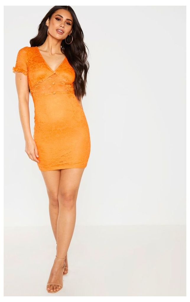 Orange Lace Cap Sleeve Bodycon Dress, Orange