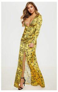 Yellow Printed Long Sleeve Ruffle Side Split Maxi Dress, Yellow