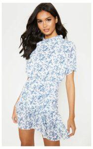 Cream Ditsy Floral High Neck Skater Dress, White