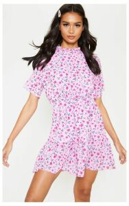 Pink Floral Print High Neck Skater Dress, Pink