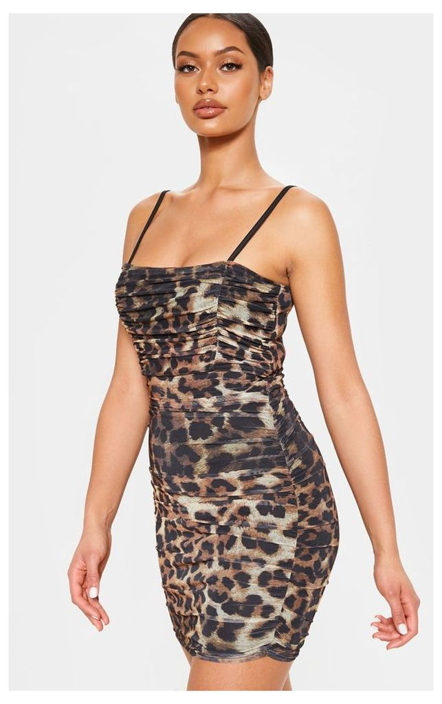 Brown Mesh Leopard Printed Ruched Bodycon Dress, Brown