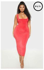 Plus Red Slinky Square Neck Midi Dress, Red