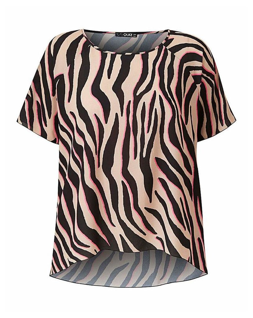 Quiz Curve Neon Animal Print Blouse