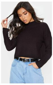 Black Cropped Ribbed Knitted Jumper, Black