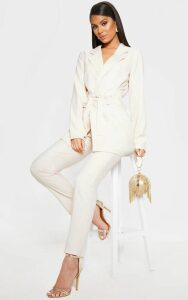 Ivory Tie Front Woven Blazer, White