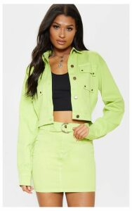 Neon Lime Oversized Cropped Denim Trucker, Neon Lime