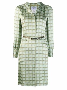 Chanel Pre-Owned checked shirt dress - Green