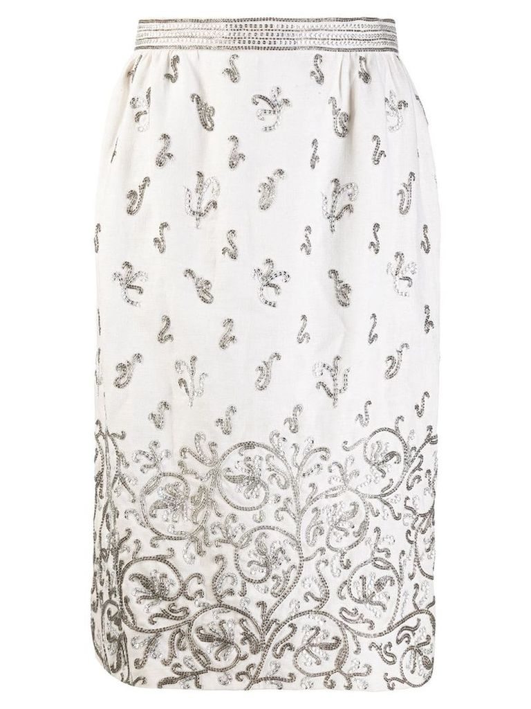 Valentino Pre-Owned bead embroidered straight skirt - Neutrals