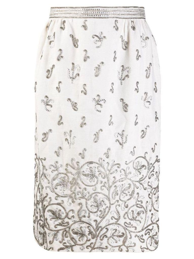 Valentino Vintage bead embroidered straight skirt - Neutrals