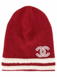 Chanel Pre-Owned knitted logo beanie - Red