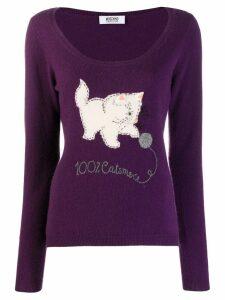 MOSCHINO PRE-OWNED intarsia cat jumper - Purple