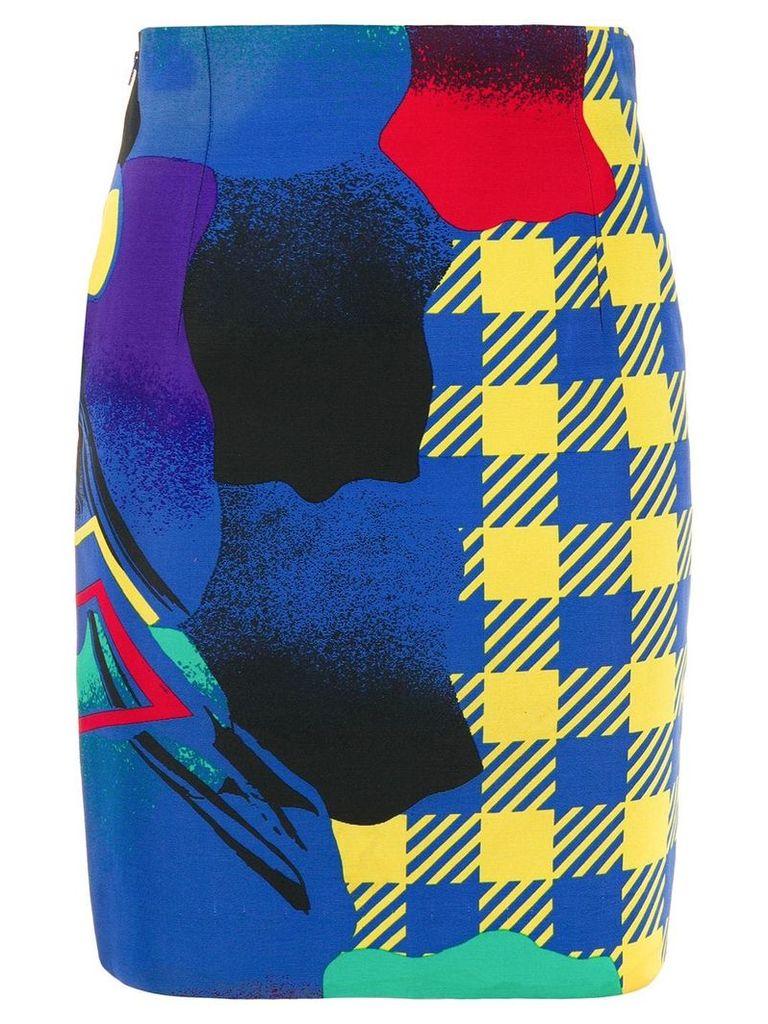 Versace Vintage 1980's Pop Art print skirt - Blue