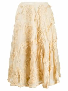 Prada Vintage rose appliqué A-line skirt - Neutrals