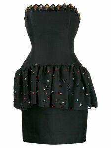 Yves Saint Laurent Pre-Owned 1980's strapless peplum dress - Black