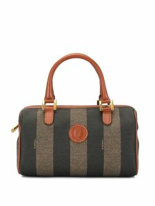 Fendi Pre-Owned Pequin Pattern Mini Hand Bag - Brown